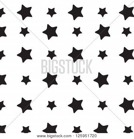 Stars sky black white pattern. Stars background and starburst stars sky space star pattern festive repetition monochrome star. Vector flat design illustration