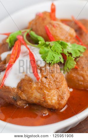 Food series : Closeup of Thai red curry chicken