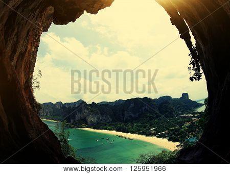 closeup of beautiful rock cave landscape seaside