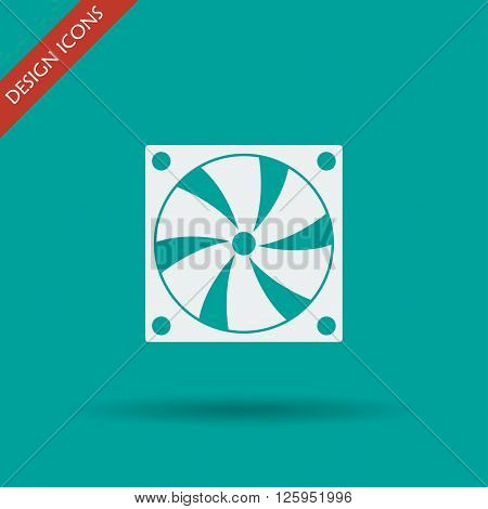 Computer cooling fan icon. Flat design style eps 10