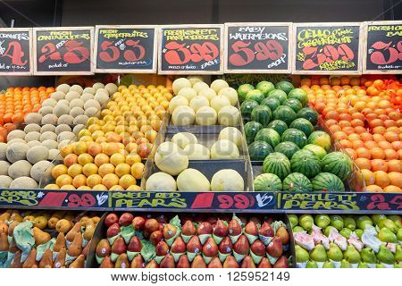 NEW YORK - CIRCA MARCH 2016: fresh goods at West Side Market.  West Side Market is a supermarket at Broadway, New York