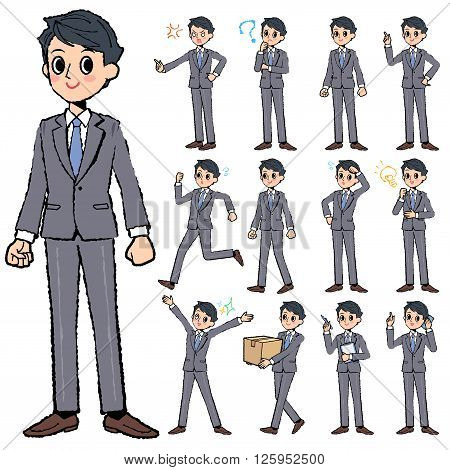 Set of various poses of Gray suit business man in hand painted