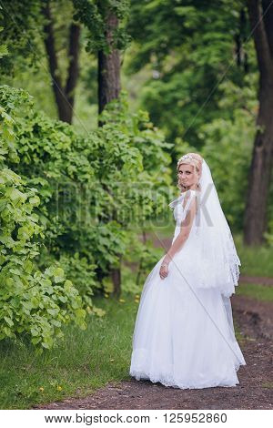 Photo beautiful bride outdoors in a forest.