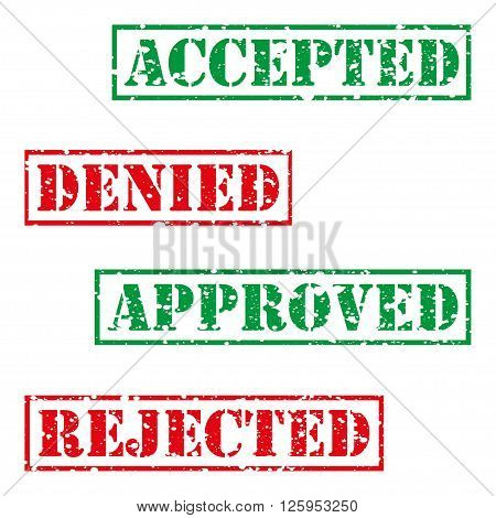 Four stamp with grunge. Accepted denied aproved rejected