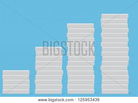 Coin stock silver money. Silver coin vector and silver finance wealth coin investment and money growth metal market and financial coin heap. Vector flat design illustration