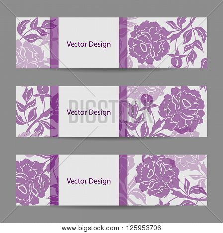 Set of horizontal banners. Vloral vector background with violet peony flowers.