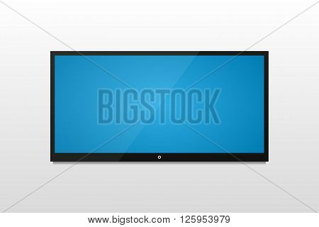 Plasma TV on a white wall with shadow and blue screen