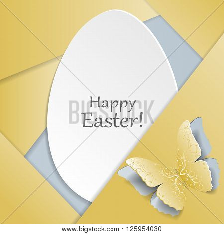 Happy Easter greeting card. White egg and yellow butterfly with plant pattern cut out of paper. Material design style.