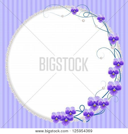 Delicate frame with violet flowers and pearls on blue striped background for greeting card or invitation design.