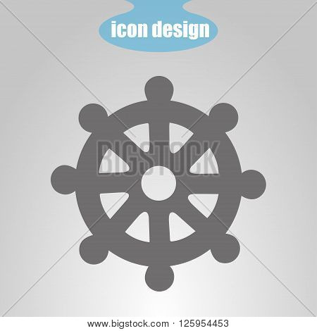 Icon wheel of of Dharma on a gray background. Vector illustration. Buddhist symbol