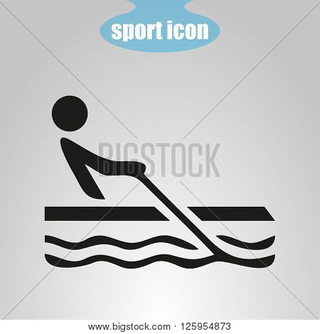 Icon of rowing on the water on a gray background. Vector illustration