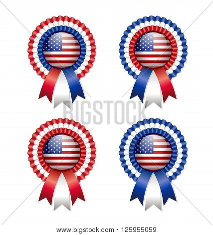 Four American and easy customizable rosettes isolated on white background
