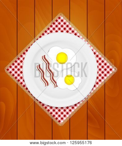 White Plate with Fried Eggs on Kitchen Napkin at Wooden Boards Background Vector Illustration EPS10
