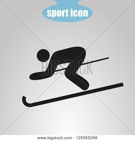Icon of skier on a gray background. Vector illustration