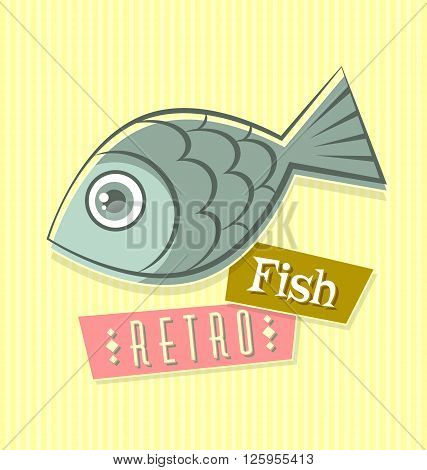 Retro fish illustration on striped yellow background