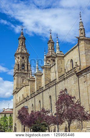 Lateral facade of Co-cathedral de Santa Maria de la Redonda in Calle Portales. It belongs to the roman catholic diocese of Calahorra y La Calzada Logroño. La Rioja. Spain.
