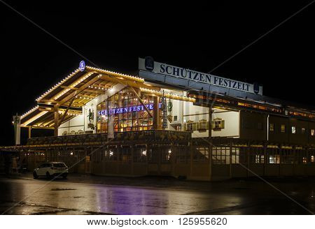 MUNICH, GERMANY - SEPTEMBER 18: Nightshot of the Schuetzenfestzelt on Theresienwiese during Oktoberfest