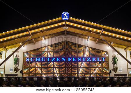 MUNICH, GERMANY - SEPTEMBER 18, 2015: Nightshot of the Schuetzenfestzelt on Theresienwiese during Oktoberfest