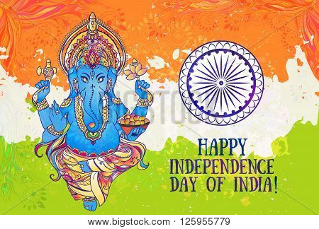Ornametal poster Independence Day of India It celebrated annually on August 15 Invitation card in vector Kaleidoscope medallion  india arabic Ganesha or Ganapati the Hindu god of wisdom and prosperity