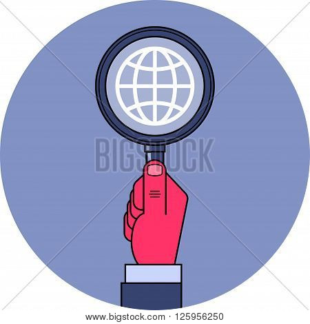 Global research. Male hand holding magnifying glass with globe symbol inside. Global research, espionage, intelligence concept illustration. Clipping mask used.