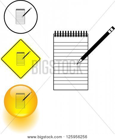 notepad and pencil symbol sign and button