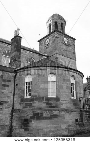 A view of an old clock tower in the town of Kirkcaldy