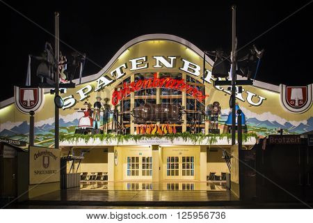 MUNICH, GERMANY - SEPTEMBER 18: Nightshot of the Ochsenbraterei tent on Theresienwiese during Oktoberfest