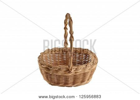 Yellow wicker basket with high braided handle