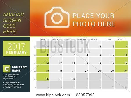 February 2017. Desk Calendar For 2017 Year. Vector Design Print Template With Place For Photo, Logo