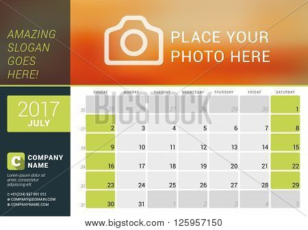 July 2017. Desk Calendar For 2017 Year. Vector Design Print Template With Place For Photo, Logo And