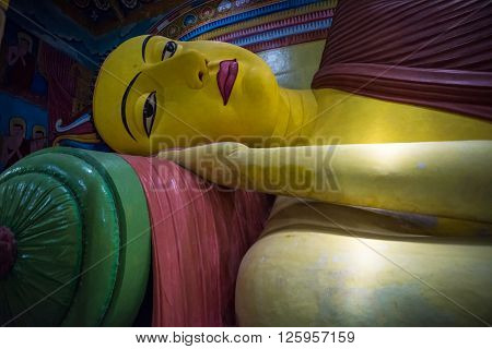 The largest statue of Reclining Buddha of Sri Lanka in Galagoda Shailatharama Viharaya