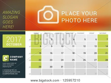 October 2017. Desk Calendar For 2017 Year. Vector Design Print Template With Place For Photo, Logo A