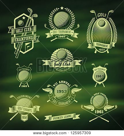 Set of vintage styled golf tournament labels on the blurred background. Editable vector illustration.