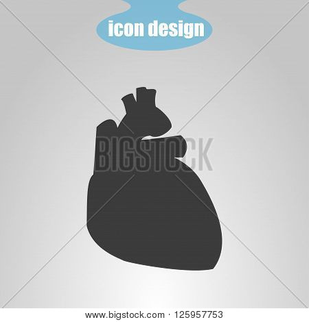 Icon of human heart on a gray background. Vector illustration