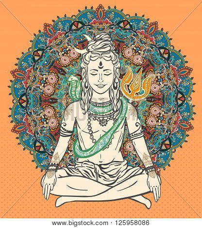 Ornament beautiful card with God Shiva. Illustration of Happy Maha Shivaratri. Mahashivaratri festival. Hinduism in India. Mediation, Shiva represents the cosmic consciousness, the masculine universe