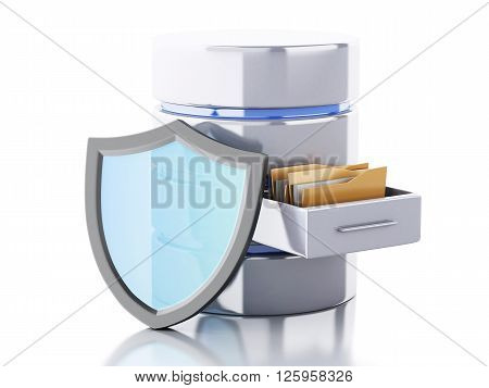 3d renderer image. Data storage with shield. Data security concept. Isolated white background