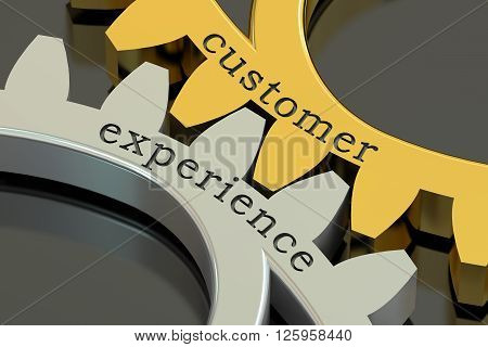 Customer Experience concept on the gearwheels 3D rendering