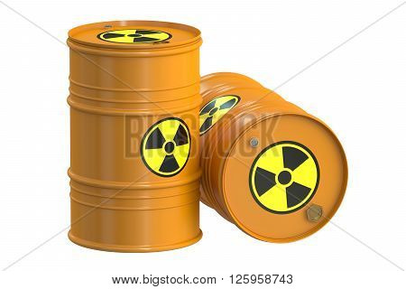 Radioactive barrels 3D rendering isolated on white background