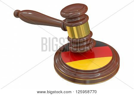 Wooden Gavel with Flag of Germany 3D rendering
