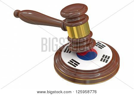 Wooden Gavel with Flag of South Korea 3D rendering