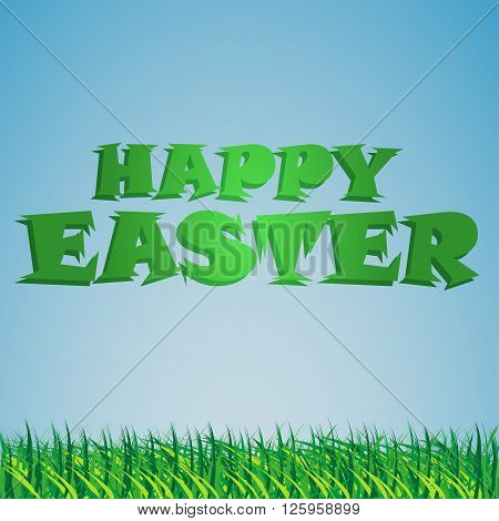 Background with the sky and the grass and the congratulatory text Easter