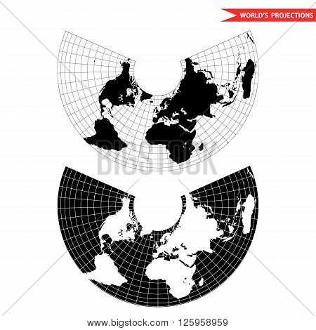 Albers equal area conic projection. Black and white world map with countries and borders. Earth plannar map.