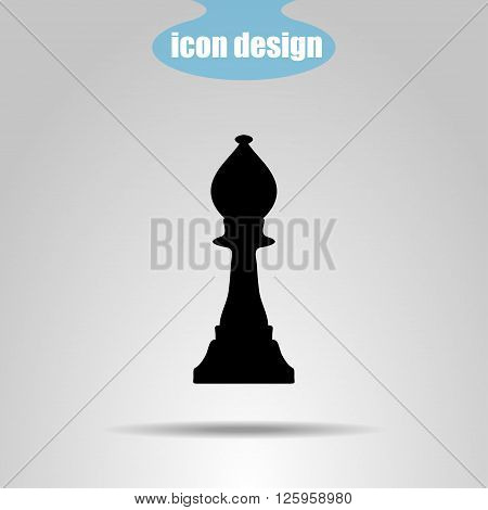 Icon chess piece on a gray background. Vector illustration. Bishop
