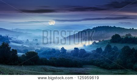 idyllic summer landscape with cold morning fog on hillside in mountainous rural area at night in full moon light