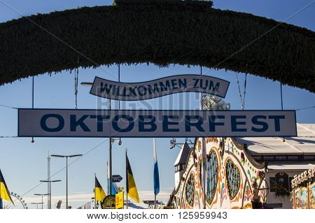 MUNICH, GERMANY - OCTOBER 02, 2015: Main entrance of the Theresienwiese to the Oktoberfest in Munich