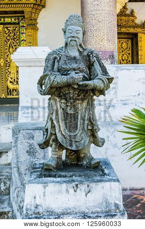 Architectural detail of a statue in Luang Prabang, Laos