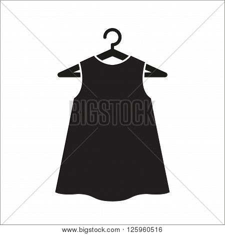 Girl little black dress on hanger. Dress Icon