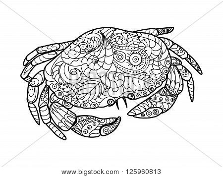 Crab sea animal coloring book for adults vector illustration. Anti-stress coloring for adult. Crab sea animal zentangle style. Black and white lines. Lace pattern