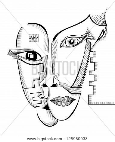 Hand drawing faces in cubism style. Abstract surreal vector template can use for posters cards stickers illustrations t-shirt art as decorative element.