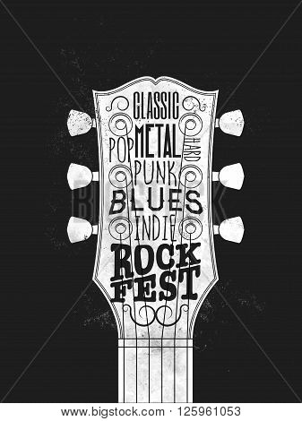 Rock Music Festival Poster. Vintage styled vector illustration.
